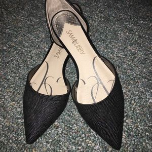 Sam & Libby black D'orsay pointed flats